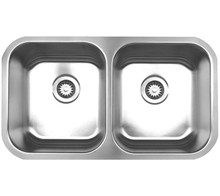 """Whitehaus WHNEDB3118 31 3/8"""" Noah's Collection Double Bowl Undermount Kitchen Sink - Brushed Stainless Steel"""