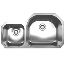 """Whitehaus WHNDBU3721 37 7/8"""" Noah's Collection Double Bowl Undermount Kitchen Sink - Brushed Stainless Steel"""