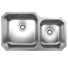 """Whitehaus WHNDBU3320 33 5/8"""" Noah's Collection Double Bowl Undermount Kitchen Sink - Brushed Stainless Steel"""