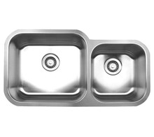 """Whitehaus WHNDBU3318 33 1/2"""" Noah's Collection Double Bowl Undermount Kitchen Sink - Brushed Stainless Steel"""