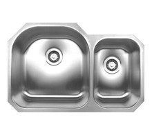 """Whitehaus WHNDBU3120 31 1/2"""" Noah's Collection Double Bowl Undermount Kitchen Sink - Brushed Stainless Steel"""