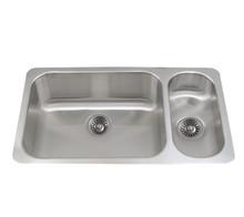 """Whitehaus WHNDBU3118GDR 32 1/4"""" Noah's Collection Double Bowl Undermount Kitchen Sink - Brushed Stainless Steel"""