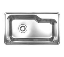 "Whitehaus WHNDB3016 33 1/2"" Noah's Collection Single Bowl Drop-in Kitchen Sink - Brushed Stainless Steel"