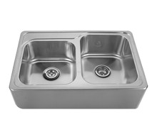 "Whitehaus WHNAP3322 33"" Noah's Collection Double Bowl Drop-in Sink Apron Kitchen Sink With Seamless Front - Brushed Stainless Steel"