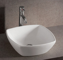 "Whitehaus WHKN4019 16 1/2"" Isabella Square Above Mount Bathroom Sink With Center Drain - White"