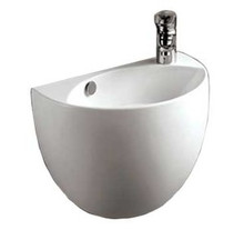 """Whitehaus WHKN1139A 17 3/8"""" Isabella Half-oval Shaped Wall Mount  Bathroom Sink With Overflow, Right Offset Single Faucet Hole & Center Drain - White"""