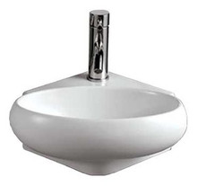 "Whitehaus WHKN1137 14 1/8"" Isabella Oval Wall Mount  Bathroom Sink With Center Drain - White"