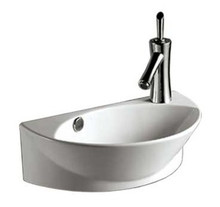"Whitehaus WHKN1131 17 3/8"" Isabella Half-oval Wall Mount  Bathroom Sink With Integrated Oval Bowl, Overflow, Right Offset Single Faucet Hole & Center Drain - White"