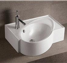 """Whitehaus WHKN1129 23 5/8"""" Isabella Rectangular Wall Mount  Bathroom Sink With Integrated Oval Bowl, Overflow, Single Faucet Hole & Rear Center Drain - White"""