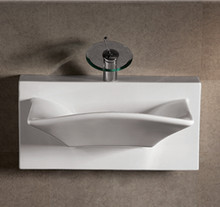 """Whitehaus WHKN1114A 27 7/8"""" Isabella Rectangular Wall Mount  Bathroom Sink With Integrated Rectangular Bowl, Single Faucet Hole & Rear Center Drain - White"""