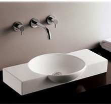 "Whitehaus WHKN1112 27 1/2"" Isabella Above Mount  Bathroom Sink With Integrated Round Bowl & A Center Drain - White"