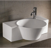 """Whitehaus WHKN1110 28 1/4"""" Isabella Wall Mount  Bathroom Sink With Integrated Round Bowl, Single Faucet Hole & Center Drain - White"""