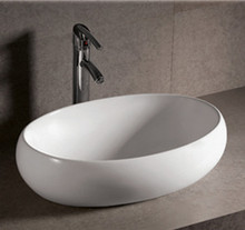 "Whitehaus WHKN1091 23 1/4"" Isabella Oval Above Mount Bathroom Vessel Sink With Center Drain - White"