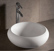 "Whitehaus WHKN1090 17 3/4"" Isabella Round Above Mount Bathroom Vessel Sink With Center Drain - White"
