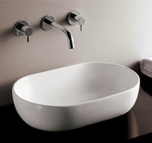 "Whitehaus WHKN1080 23 1/4"" Isabella Oval Above Mount Bathroom Vessel Sink With Center Drain - White"