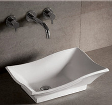 "Whitehaus WHKN1078 20"" Isabella Rectangular Above Mount Bathroom Vessel Sink With Offset Center Drain - White"