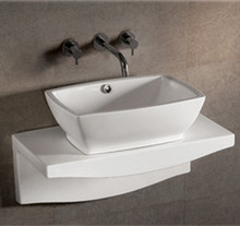 "Whitehaus WHKN1065-1116 21 5/8"" Isabella Rectangular Above Mount Bathroom Vessel Sink With Overflow & Center Drain & Wall Mount Counter Top - White"