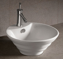 "Whitehaus WHKN1054 18"" Isabella Round Stepped Above Mount Bathroom Vessel Sink With Overflow & Single Faucet Hole - White"