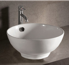 "Whitehaus WHKN1051 16 7/8"" Isabella Round Above Mount Sink Vessel With Overflow & Center Drain - White"