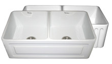 "Whitehaus WHFLRPL3318 33"" Reversible Fireclay Apron Kitchen Sink With Raised Panel Front Apron On One Side & Fluted Front On Other - White"