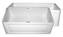 "Whitehaus WHFLRPL3018 30"" Reversible Fireclay Apron Kitchen Sink With Raised Panel Front Apron On One Side & Fluted Front On Other - White"