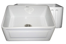 """Whitehaus WHFLRPL2418 24"""" Reversible Fireclay Apron Kitchen Sink With Raised Panel Front Apron On One Side & Fluted Front On Other - White"""
