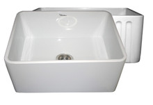 "Whitehaus WHFLPLN2418 24"" Reversible Fireclay Apron Kitchen Sink With Smooth Front Apron One Side & Fluted Front Other Side - White"