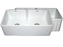 "Whitehaus WHFLPLN3318 33"" Reversible Fireclay Apron Kitchen Sink With Smooth Front Apron One Side & Fluted Front Other Side - White"
