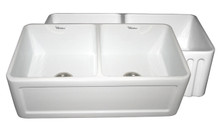 "Whitehaus Whflcon3318 33"" Reversible Double Bowl Fireclay Apron Kitchen Sink With Concave Front Apron One Side & Fluted Front On Other - White"