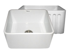 """Whitehaus WHFLPLN2018 20"""" Reversible Fireclay Apron Kitchen Sink With Smooth Front Apron One Side & Fluted Front Other Side - White"""