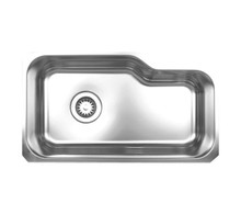 "Whitehaus WHNUB3016 32 1/8"" Noah's Collection Single Bowl Undermount Kitchen Sink - Brushed Stainless Steel"