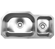 """Whitehaus WHNDBU3317 32 3/4"""" Noah's Collection Double Bowl Undermount Kitchen Sink - Brushed Stainless Steel"""