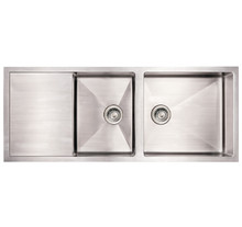 "Whitehaus WHNCMD5221 52"" Noah's Collection Commercial Single Bowl Reversible Under Mount Kitchen Sink With Integral Drain Board - Brushed Stainless Steel"