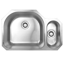"""Whitehaus WHNDBU3121 31 1/2"""" Noah's Collection Double Bowl Undermount Kitchen Sink - Brushed Stainless Steel"""
