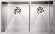 """Whitehaus WHNCMD3320 33"""" Noah's Collection Commercial Double Bowl Undermount Kitchen Sink - Brushed Stainless Steel"""