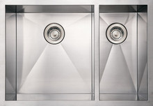 """Whitehaus WHNCMD2920 29"""" Noah's Collection Commercial Double Bowl Undermount Kitchen Sink - Brushed Stainless Steel"""