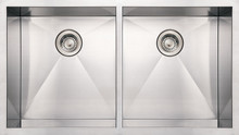 "Whitehaus WHNCM3720EQ 37"" Noah's Collection Commercial Double Bowl Undermount Kitchen Sink - Brushed Stainless Steel"