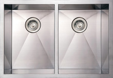 "Whitehaus WHNCM2920EQ 29"" Noah's Collection Commercial Double Bowl Undermount Kitchen Sink - Brushed Stainless Steel"