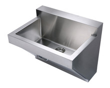 """Whitehaus WHNC3022W 30"""" Noah's Collection Commercial Wall Hung Laundry / Scrub Sink - Brushed Stainless Steel"""