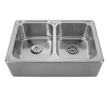 "Whitehaus WHNAPEQ3322 Noah's Collection Double Bowl Drop-in Apron Kitchen Sink With Seamless Front 33"" x 22"" - Brushed Stainless Steel"