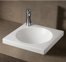 "Whitehaus WHKN4061 18"" Isabella Drop In Bathroom Sink With Integrated Round Bowl - Single Faucet Hole - White"
