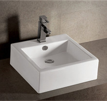 "Whitehaus WHKN4051 18 1/2"" Isabella Square Wall Mount Sink With Overflow - Single Faucet Hole & Rear Center Drain - White"