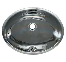 "Whitehaus WH608ABL 16"" Smooth Oval Undermount Bathroom Sink With Overflow - Polished Stainless Steel"
