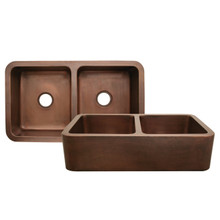 "Whitehaus WH3621COFCD Copperhaus 36"" x 21"" Double Bowl Undermount Apron Kitchen Sink With Hammered Front - Hammered Bronze"