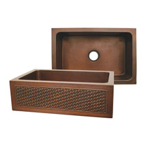 "Whitehaus WH3020COFCBW Copperhaus 30"" x 20"" Undermount Apron Kitchen Sink With Basket Weaving Design - Smooth Bronze"