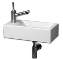 "Whitehaus WH1-114R 19 3/4"" Isabella Wall Mount Sink With Right Side Faucet Hole  - White"
