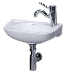 "Whitehaus WH1-102L 16 1/4"" Isabella Small Wall Mount Sink With Left Side Faucet Hole - White"