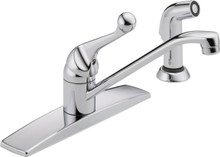 Delta 400LF-WF Classic Single Handle Kitchen Faucet with Side Spray - Chrome