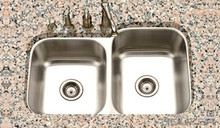 Hamat Eston Undermount 60/40 Double Bowl Small Bowl Left Kitchen Sink - Stainless Steel