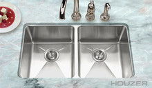 "Houzer NOD-4200 Nouvelle Undermount 50/50 Double Bowl 14"" X 16"" X 9"" Kitchen Sink - Stainless Steel"